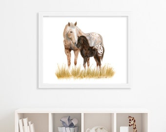 Appaloosa Horses - Rustic Print - Large Horse Art - Mother and Baby - Rustic Horse Art - Appy Decor - Horse Painting - Farmhouse Wall Decor