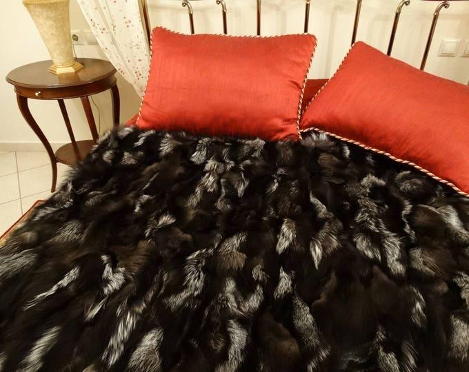 Silver Fox Fur Blanket, Fur Throws F752