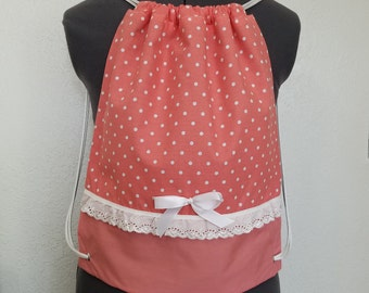Pink Polka Dot Drawstring Bag with Lace and Bow, Backpack, Gym Bag, Hiking Bag, Coral Bag