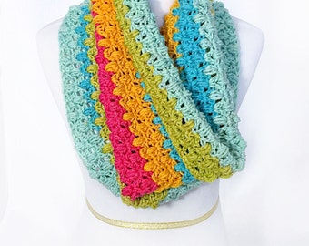 Blue Green Pink and Orange Crochet Scarf, Striped Crochet Cowl, Short Infinity Scarf, Crochet Neck Warmer, Colorful Snood, Handmade Cowl