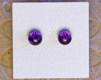 Dichroic Glass Earrings, Petite, Purple  DGE-1206
