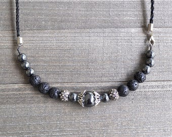 Large Beaded Necklace Hematite Unisex Perfect For A Man or Woman Black Lava Rock Add Your Aromatherapy Oils Leather Cord Artisan Style