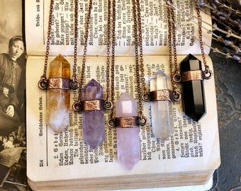 Crystal Necklace Amethyst Citrine Black Obsidian Rose or Clear Quartz Necklace / Large Crystal Jewelry Boho Gemstone Layering Necklace