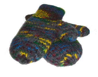 Felted Rainbow Adult Wool Mittens