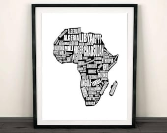 "Map of Africa, Africa Map, Printable Africa Map, Instant Download, Africa, Map Wall Art, Map Art, Africa Wall Art,  8x10"", 14x11"", 16x20"""