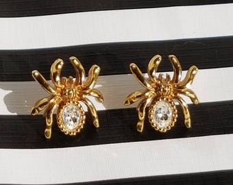 Vintage 1994 Avon Gold Tone and Rhinestone Spider Earrings