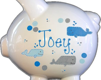 Personalized Piggy Bank with Whale Design | White | Blue | Large | Baby Gift | Baby Shower Gift| Piggy Bank| Coin Bank