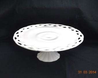 Large Milk Glass Cake Stand By Pittman Drietzer, Colony
