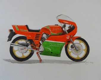 Ducati Mille, watercolor art print, limited edition