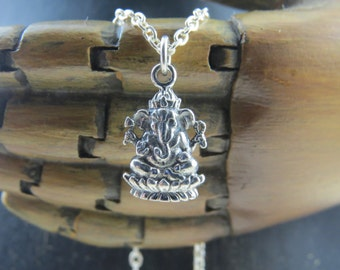Sterling silver Ganesh necklace, Hindu goddess Ganesh, yoga jewelry, Small Ganesh, Hindu, Elephant necklace, Yoga necklace, Ganesh jewelry