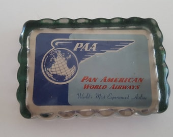 Vintage mid 1950's Pan American World Airways glass paperweight,  scalloped edges with green felt bottom. Golden Age of Air Travel
