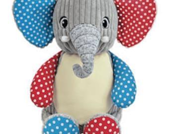 Custom personalized embroidered Harlequin patch stuffed plush animal- birth statistics - ring bearer - flower girl