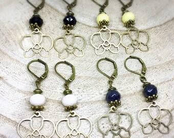 Butterfly, glass beads bronze Orchid earrings