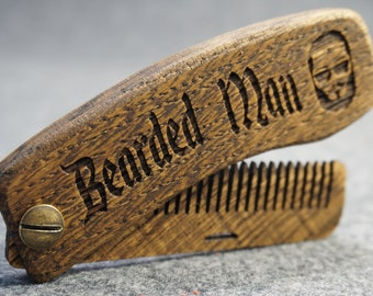 Men's combs are made of wood. A good gift to bearded men
