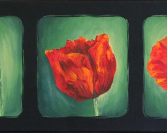 Gift for mother's day - acrylic painting on canvas: Triptych poppies