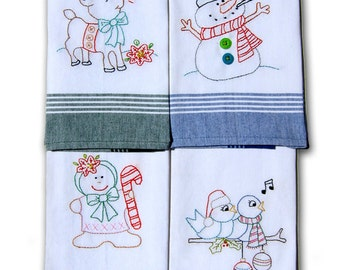 A Christmas Sampler tea towel embroidery pattern by Cleo and Me