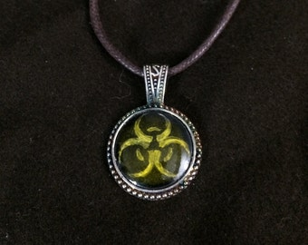 Yellow Biohazard Glass Enamel Medallion Pendant