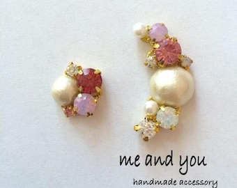 Cotton Pearl Ear Clip ~ Pink