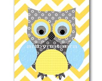 Owl Decor Owl Nursery Baby Boy Nursery Art Nursery Wall Art Baby Nursery Kids Room Decor Kids Art Boy Print Owl Nursery Blue Gray Yellow
