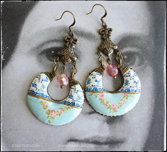 Earrings Portugal Tile Azulejo Fresco CHANDELIER Earrings - Lisbon Delft Blue 1837 Pasteis de Belem Gypsy Bohemian Hippie Boho Romantic