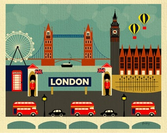 SALE London 8x10 prints, missing stripe on flag,  London Skyline, London Decor, London Nursery, London baby, UK Gift, style- E8-O-LON