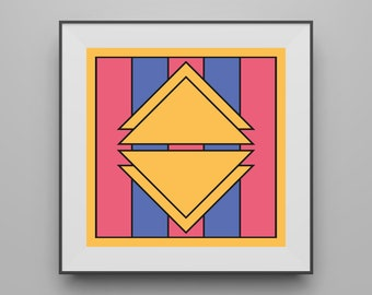 Digital Download, Instant Digital Download, Pink Blue Yellow Square Digital Download Art Print, Triangles Design, Sizes up to 60x60 Inches