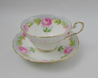 Vintage Tuscan Tea Cup and Saucer with Pink Roses, Fine English Bone China