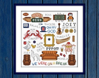 Friends - cross stitch pattern | Film cross stitch | Fun cross stitch | TV series cross stitch | Movie cross stitch | FRIENDS TV show |