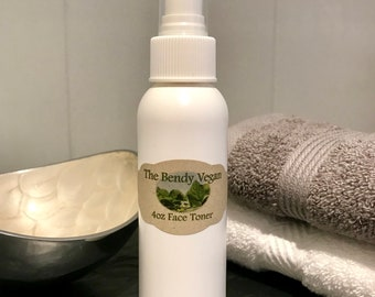 Vegan Organic Facial Toner Mist | Organic Essential Oils and Ingredients | All Natural | Light & Refreshing | Pleasant Scent | Not drying