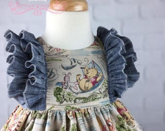 Winnie the Pooh!  Baby, Toddler, Girls Dress, Chambray, Birthday, Special Occasion