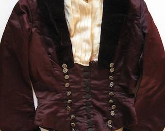 Antique Aubergine Silk Satin Bodice /  Jacket Velvet Collar & Cuffs c. 1880-1900