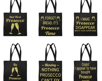 Funny Prosecco Shopping Bag Shopper Tote Carrier Bag for Life Drink Wine