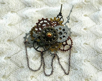 Chained Steampunk Brooch - Cogs and Gears