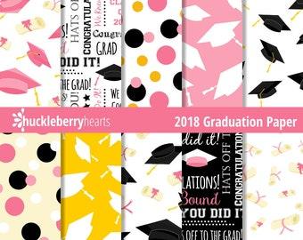 Class of 2018, Graduation Paper, Digital Scrapbook Paper, Graduation Digital Paper, Printable, Commercial Use