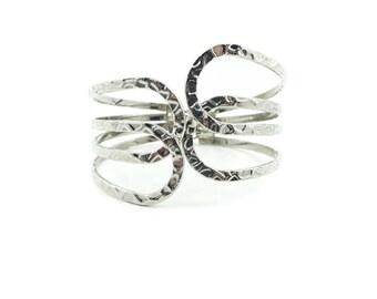 Vintage Hammered Look Bracelet, Clamper, Silver Tone