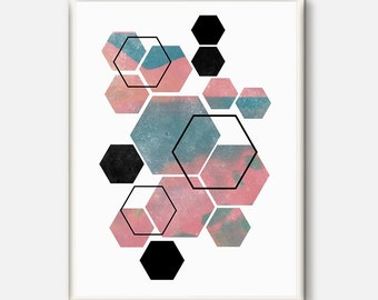 Geometric Art, Printable Art, Hexagon Print, Hexagon Art, Geometric Print, Scandinavian Art, Wall Decor, Abstract Art Print, Modern print