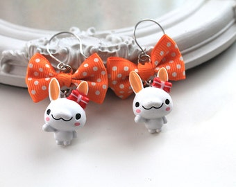 White bunny rabbit and orange  Bow Earrings