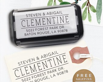 Custom Address Stamp, Personalized Address Stamp, Calligraphy Stamp, DIY, Modern Wedding Address Stamp, Self Inking Stsamp - Clementine