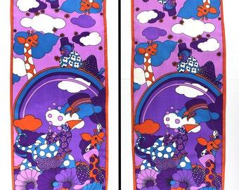 Purple Orange Blue White Circus Satin Scarf - clowns giraffe elephants rainbows clouds