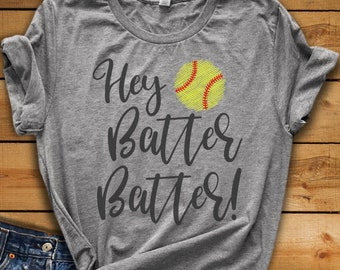 Hey Batter Batter SVG - Softball SVG - Softball Sister svg - Baseball - Softball Mom svg - Files for Silhouette Studio/Cricut Design Space
