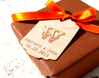 Wedding favor tags, personalized monogram favor tags, custom engraved veneer tags, gift tags, favor tags,thank you tags, set of 25