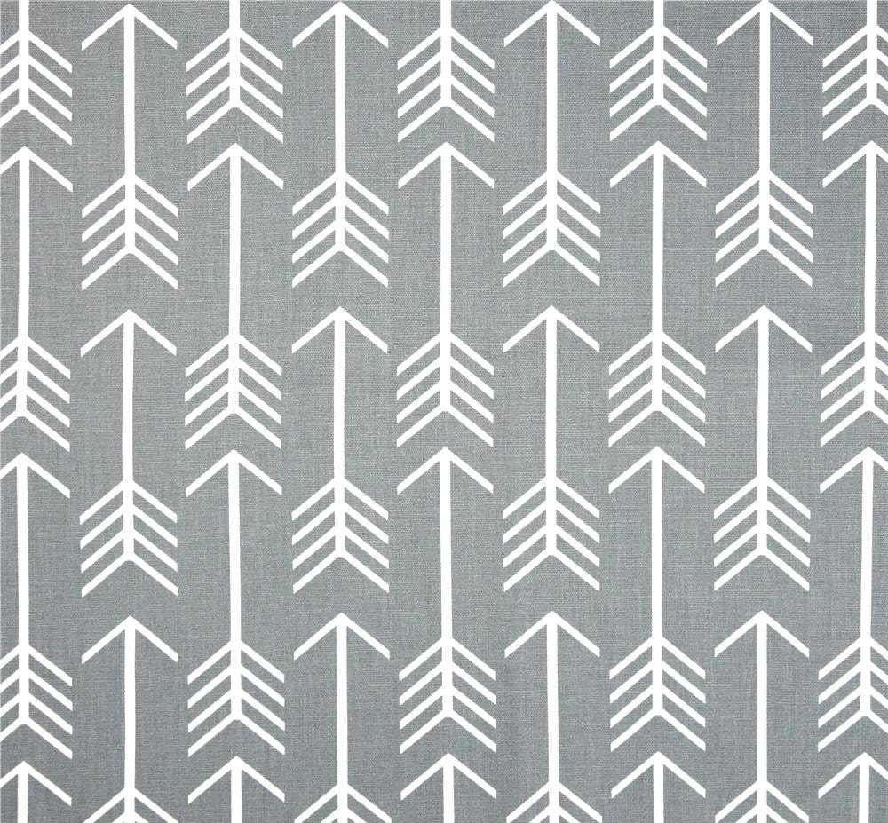zoom Gray Arrow Fabric by the Yard Indoor or Outdoor Home Decor