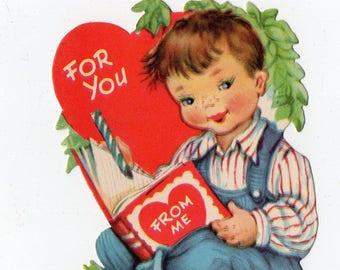 Vintage Child Valentine |  Greeting Card | Valentine's Day, Valentines, Reading, Book, For You, Heart, Kids, Children | Paper Ephemera