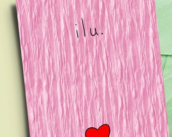 I love you minimalist card for her or him, anniversary gift, Valentine's Day card, sweetest day card