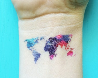 Pineapple temporary tattoos tropical fake tattoos best friend watercolor map tattoo world map temporary tattoos blue purple red pink tattoo bohemian festival wanderlust fake gumiabroncs Gallery