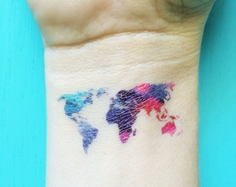 World map temporary tattoos watercolor tattoo valentines day watercolor map tattoo world map temporary tattoos blue purple red pink tattoo bohemian festival wanderlust fake gumiabroncs Gallery