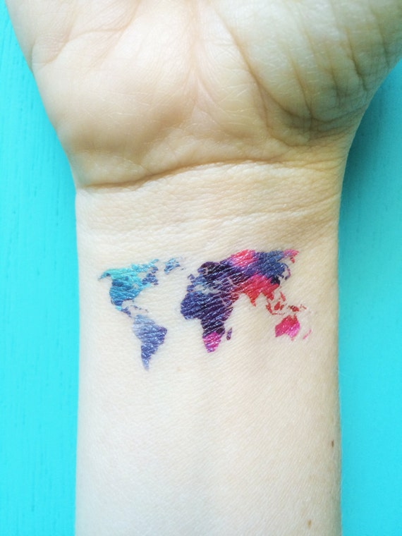 Watercolor map tattoo world map temporary tattoos blue purple gumiabroncs Gallery