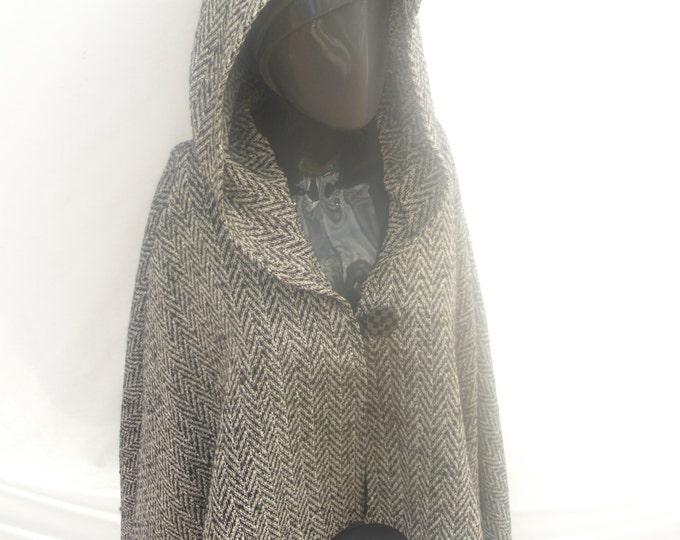 Hooded Wool Black and White Herringbone Cape