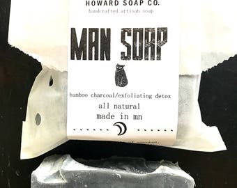 MAN SOAP Cold Process Soap >> artisan soap/activated charcoal/vegan/manly/Minnesota made