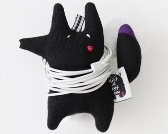 Soft Knit Earphone Case, Black Fox Earphone Pouch, Earphone Organizer, Black Fox Keychain, Handmade Animal Pouch plushie, Coin Pouch